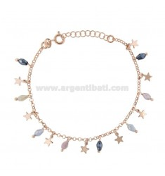 BRACELET WITH STARS AND PENDANT STONES IN ROSE SILVER TIT 925 ‰ CM 17-19