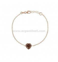 ROLO BRACELET 'CM 17-19 WITH 10 MM HEART IN SILVER ROSE TIT 925 AND SMOKE ZIRCONE'