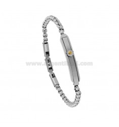 VENETIAN BRACELET WITH STEEL PLATE CM 21