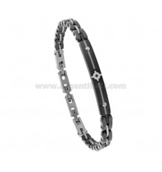 TWO-COLOR STEEL BRACELET WITH PLATE AND ROSE OF THE WINDS CM 21