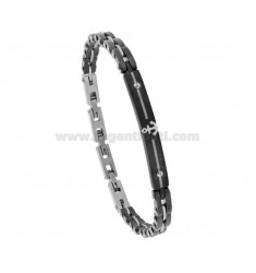 BICOLOUR STEEL BRACELET WITH PLATE AND STILL CM 21
