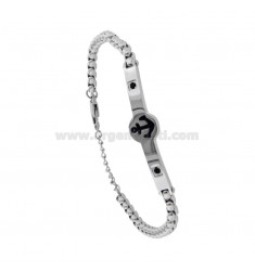 VENETIAN BRACELET WITH STILL IN TWO-COLORED STEEL AND ZIRCONIA CM 21