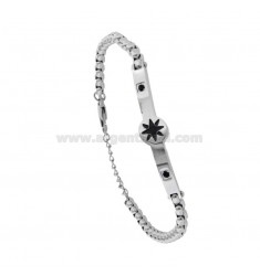 VENETIAN BRACELET WITH TWIST-COLORED STEEL ROSE AND ZIRCONIA CM 21