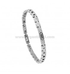 BRACELET IN STEEL WITH PLATE AND ZIRCONIA CM 21