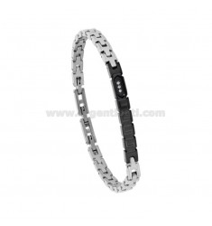 BICOLOR STEEL BRACELET WITH PLATE AND ZIRCONIA CM 21