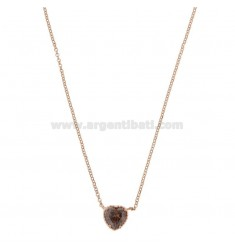 ROLO NECKLACE 42-44 CM WITH 10 MM HEART IN SILVER ROSE TIT 925 AND SMOKE ZIRCONE
