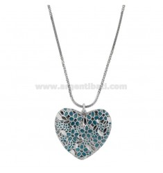 ALTERNATE DISC NECKLACE 40-45 CM SILVER RHODIUM TIT 925 ‰ WITH HEART PENDANT 30 MM AND ENAMEL VERDETIFFANY