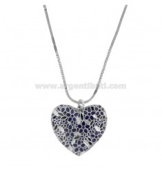 ALTERNATE DISC NECKLACE 40-45 CM IN RHODIUM SILVER TIT 925 ‰ WITH HEART PENDANT PERFORATED 30 MM AND BLUE ENAMEL