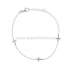 BRACELET WITH CROSSES IN RHODIUM SILVER CM 17-19