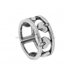 BAND RING WITH SACRED HEARTS IN BRUNITO SILVER TIT 925 ‰ ADJUSTABLE SIZE