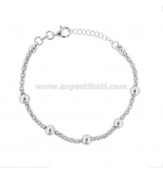 POP CORN BRACELET WITH RHODIUM SILVER BALLS TIT 925 18 CM FROM 18 EXTENSIBLE TO 20