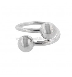 CONTRARY RING WITH SILVER RHODIUM BALLS TIT 925 ‰ ADJUSTABLE SIZE