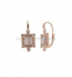 MONACHELLA EARRINGS WITH SQUARE HYDROTHERMAL STONE LILAC 29 AND ZIRCONIA IN ROSE GOLD PLATED AG T 925 ‰
