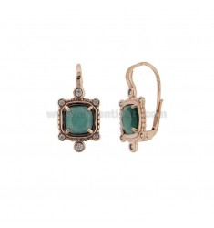 MONACHELLA EARRINGS WITH SQUARE HYDROTHERMAL STONE GREEN 40 AND ZIRCONIA IN ROSE GOLD PLATED AG 925 T ‰