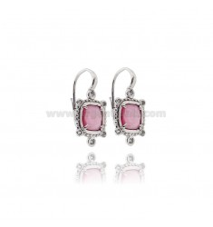 MONACHELLA EARRINGS WITH HYDROTHERMAL STONE SQUARE FUCSIA 16 AND ZIRCONIA IN RHODIUM PLATED AG TIT 925 ‰
