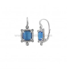 MONACHELLA EARRINGS WITH SQUARE HYDROTHERMAL STONE SUGAR PAPER 28 AND ZIRCONIA IN RHODIUM PLATED AG TIT 925 ‰