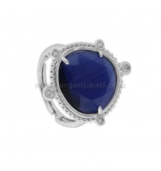 RING WITH HYDROTHERMAL STONE LARGE BLUE COLOR 1 AND ZIRCONIA IN RHODIUM AG TIT 925 ‰ ADJUSTABLE SIZE