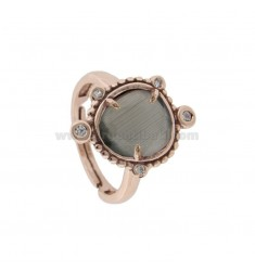 RING WITH HYDROTHERMAL STONE SMALL GRASS 51 AND ZIRCONIA STONE IN ROSE AG TIT 925 ‰ ADJUSTABLE SIZE