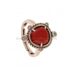 RING WITH HYDROTHERMAL STONE SASSO SMALL RED COLOR 57 AND ZIRCONIA IN ROSATO AG TIT 925 ‰ ADJUSTABLE SIZE