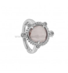 RING WITH HYDROTHERMAL STONE SMALL STONE COLOR PINK 11 AND ZIRCONIA IN RHODIUM AG TIT 925 ‰ ADJUSTABLE SIZE