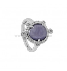 RING WITH HYDROTHERMAL STONE SMALL PURPLE STONE COLOR 13 AND ZIRCONIA IN RHODIUM AG TIT 925 ‰ ADJUSTABLE SIZE