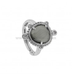 RING WITH HYDROTHERMAL STONE SMALL GRASS 51 AND ZIRCONIA STONE IN RHODIUM AG TIT 925 ‰ ADJUSTABLE SIZE