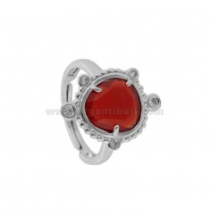 RING WITH HYDROTHERMAL STONE SASSO SMALL RED COLOR 57 AND ZIRCONIA IN RHODIUM AG TIT 925 ‰ ADJUSTABLE SIZE