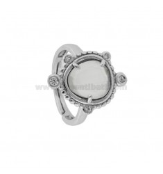 RING WITH HYDROTHERMAL STONE SASSO SMALL WHITE COLOR 8 AND ZIRCONIA IN RHODIUM AG TIT 925 ‰ ADJUSTABLE SIZE