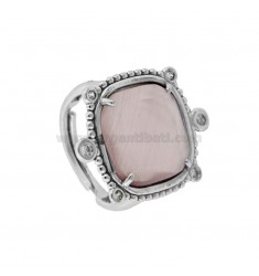 RING WITH HYDROTHERMAL STONE SQUARE LARGE 29 LILAC COLOR AND ZIRCONIA IN RHODIUM AG TIT 925 ‰ ADJUSTABLE SIZE