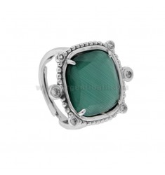 RING WITH HYDROTHERMAL SQUARE SQUARE LARGE GREEN 40 AND ZIRCONIA IN RHODIUM AG TIT 925 ‰ ADJUSTABLE SIZE