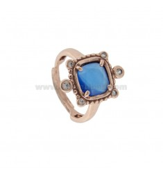RING WITH HYDROTHERMAL STONE SQUARE SUGAR PAPER 28 AND ZIRCONIA IN ROSETTE AG TIT 925 ‰ ADJUSTABLE SIZE