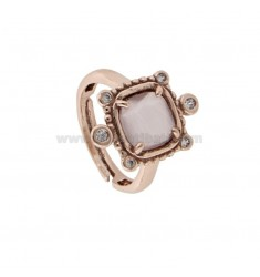 RING WITH HYDROTHERMAL SQUARE LILAC STYLE 29 AND ZIRCONIA IN ROSE AG TIT 925 ‰ ADJUSTABLE SIZE