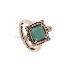 RING WITH HYDROTHERMAL SQUARE SQUARE GREEN 40 AND ZIRCONIA IN ROSATO AG TIT 925 ‰ ADJUSTABLE SIZE