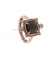 RING WITH HYDROTHERMAL STONE SQUARE GRAY 51 AND ZIRCONIA IN ROSATO AG TIT 925 ‰ ADJUSTABLE SIZE