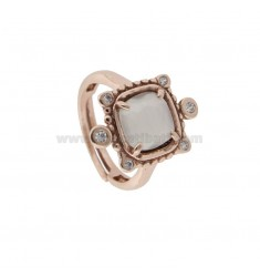 RING WITH HYDROTHERMAL SQUARE SQUARE WHITE COLOR 8 AND ZIRCONIA IN AG ROSATO TIT 925 ‰ ADJUSTABLE SIZE
