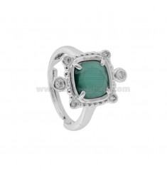 RING WITH HYDROTHERMAL SQUARE SQUARE GREEN 40 AND ZIRCONIA IN RHODIUM AG TIT 925 ‰ ADJUSTABLE SIZE