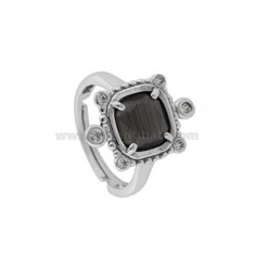RING WITH HYDROTHERMAL SQUARE SQUARE GRAY 51 AND ZIRCONIA IN RHODIUM AG TIT 925 ‰ ADJUSTABLE SIZE