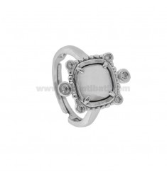 RING WITH HYDROTHERMAL SQUARE SQUARE WHITE COLOR 8 AND ZIRCONIA IN RHODIUM AG TIT 925 ‰ ADJUSTABLE SIZE