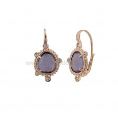 MONACHELLA EARRINGS WITH HYDROTHERMAL STONE PURPLE COLOR PURPLE 13 AND ZIRCONIA IN ROSATO AG TIT 925 ‰