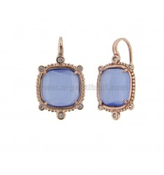 MONACHELLA EARRINGS WITH HYDROTHERMAL STONE SQUARE LARGE COLOR SUGAR PAPER 28 AND ZIRCONIA IN AG ROSATO TIT 925 ‰
