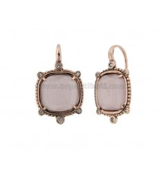 MONACHELLA EARRINGS WITH HYDROTHERMAL STONE SQUARE LARGE 29 LILAC COLOR AND ZIRCONIA IN ROSE AG TIT 925 ‰