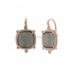 MONACHELLA EARRINGS WITH HYDROTHERMAL STONE SQUARE LARGE GRAY COLOR 51 AND ZIRCONIA IN ROSETTE AG TIT 925 ‰