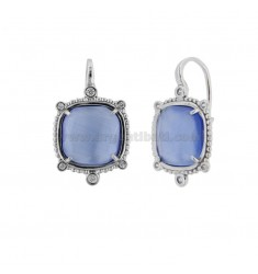 MONACHELLA EARRINGS WITH HYDROTHERMAL STONE SQUARE LARGE COLOR SUGAR PAPER 28 AND ZIRCONIA IN RHODIUM AG TIT 925 ‰