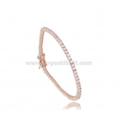 TENNIS BRACELET MM 2 IN ROSE SILVER WITH WHITE ZIRCONS CM 16