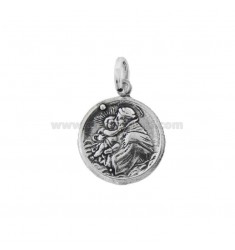 CIONDOLO MONETA MM 19 CON SAN FRANCESCO D'ASSISI IN ARGENTO BRUNITO TIT 800