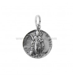 PENDANT 21 MM COIN WITH SAN NICOLA DI BARI IN BRUNITO SILVER TIT 800