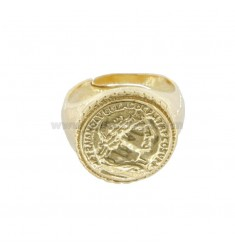 RING WITH 16 MM COIN IN GOLDEN SILVER TIT 925 ‰ ADJUSTABLE SIZE