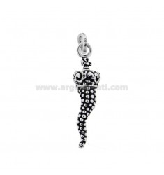 PUNCHED HORN PENDANT 34X9 MM WITH CROWN IN CAST BRUNITO SILVER TIT 800 ‰
