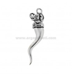 HORN PENDANT 42X12 MM WITH ELEPHANT IN CAST BRUNITO SILVER TIT 800 ‰