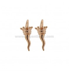 2 PCS HORN PENDANT MM 18X9 WITH CROWN IN CAST ROSE SILVER TIT 800 ‰